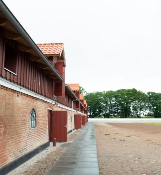 Nye lejligheder og mødelokaler indrettes med douglastræsdøre til Løvenholm Gods' renovering af den gamle hestestald